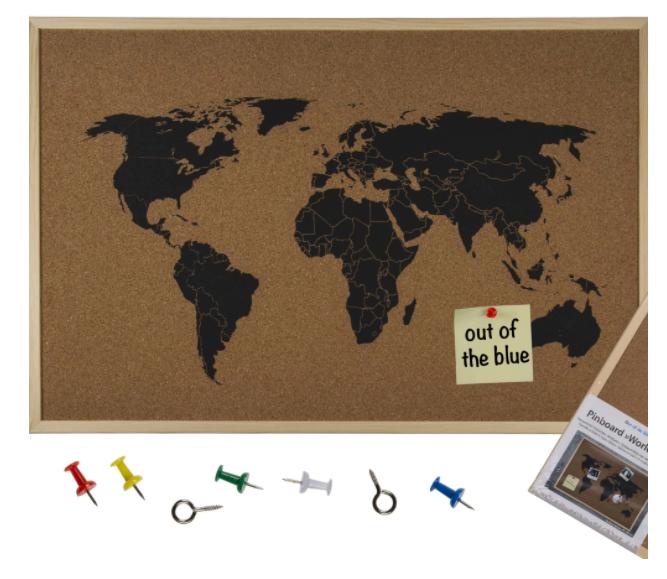 Карта на света от корк за подарък на мъж