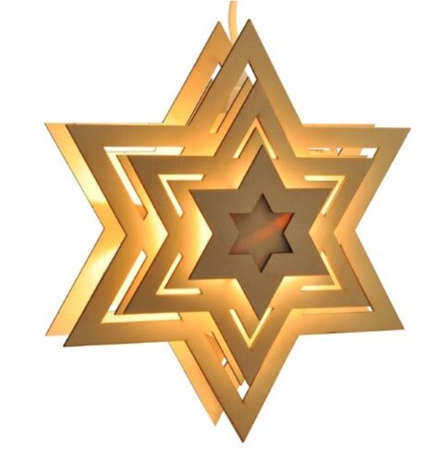 Светеща дървена коледна звезда Jago